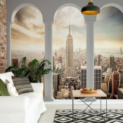 New York City Skyline Pillars Arches