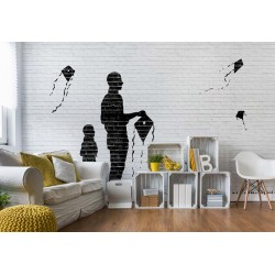 Brick Wall Kites Kids Black White