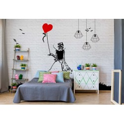 Brick Wall Heart Balloon Girl Graffiti, Banksy