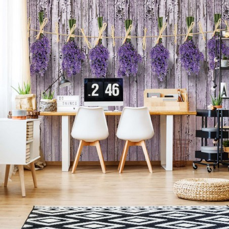 Wooden Wall Flowers Lavender
