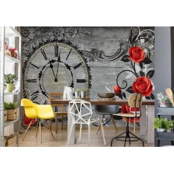 Roses Clock Wood Planks Vintage