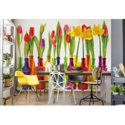 Tulipanes en botellas