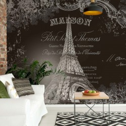 2427 - Paris Eiffel Tower Vintage Script Black And White