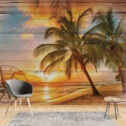 10027 - Rustic Tropical Beach Sunset Wood Planks