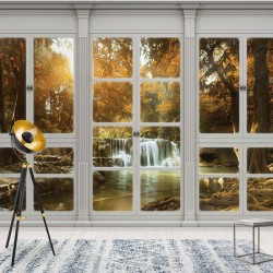 10638 - 3D Door View Forest River Waterfall