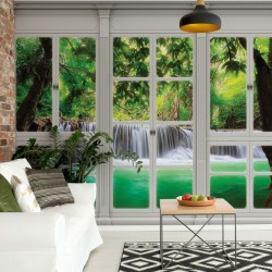 10645 - 3D Door View Forest Waterfall