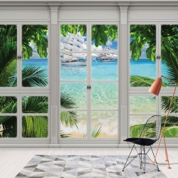 10647 - 3D Door View Tropical Beach