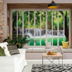 10655 - 3D Window View Forest Waterfall