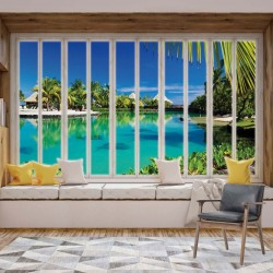 10656 - 3D Window View Tropical Lagoon