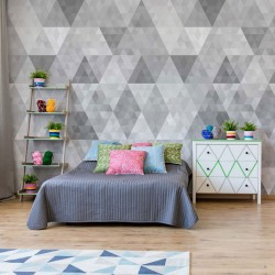 10834 - Modern Geometric Triangles Pattern Grey