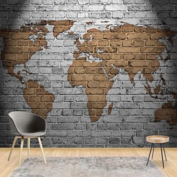 10880 - Grunge Brick Wall World Map
