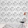 11225 - Modern 3D White And Grey Cube Pattern