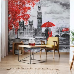 11471 - London Red Black White Art Painting