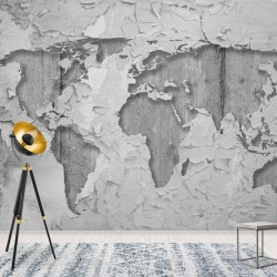 2819 - World Map Concrete Grunge Texture