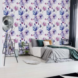 3278 - Magnolia Flowers Pattern Purple