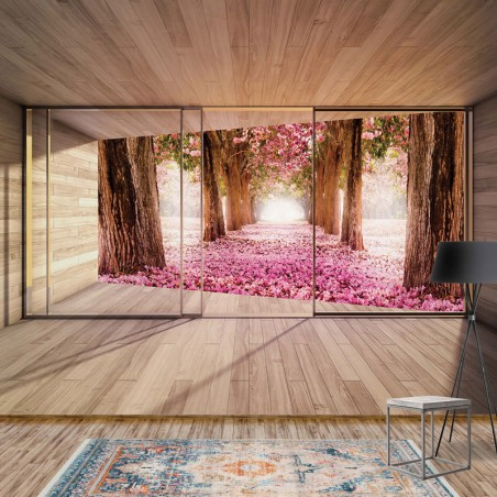3298 - Forest Pink Blossom 3D Modern Window View