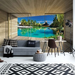 3311 - Tropical Lagoon 3D Modern Window View