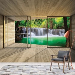 3317 - Waterfall Forest 3D Modern Window View
