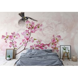 3544 - Flowers Bird Vintage Chic Pink