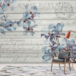 3545 - Blue Flowers Wood Plank Texture Vintage Script Farmhouse Chic