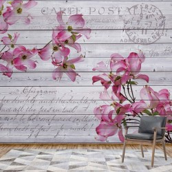3546 - Pink Flowers Wood Plank Texture Vintage Script Farmhouse Chic