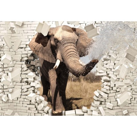 3638 - Elephant Bursting Through Brick Wall